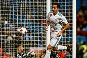 10th January 2018, Santiago Bernabeu, Madrid, Spain; Copa del Rey football, round of 16, 2nd leg, Real Madrid versus Numancia; Lucas Vazquez Iglesias (Real Madrid) turns away and celebrates his goal which made it 1-0