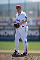 San Jose Giants relief pitcher DJ Myers (37) prepares to deliver a pitch during a California League game against the Lancaster JetHawks at San Jose Municipal Stadium on May 13, 2018 in San Jose, California. San Jose defeated Lancaster 3-0. (Zachary Lucy/Four Seam Images)