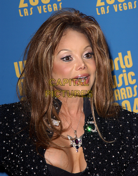 LaTOYA JACKSON.15th Annual World Music Awards held at The Thomas & Mack Center in Las Vegas, Nevada .September 15,2004.headshot, portrait, plastic surgery, cleavage, necklace.www.capitalpictures.com.sales@capitalpictures.com. Copyright 2004 by Debbie VanStory