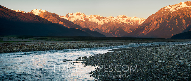 Sunrise on Southern Alps and Waimakariri River near Arthurs Pass village, Arthur's Pass National Park, West Coast, New Zealand, NZ