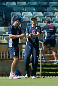November 4th 2017, WACA Ground, Perth Australia; International cricket tour, Western Australia versus England, day 1; Alastair cook warms up with captain Joe Root before the start of play against Western Australia