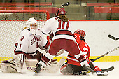 Laura Bellamy (Harvard - 1), Gina McDonald (Harvard - 10), Michelle Ng (St. Lawrence - 3) - The Harvard University Crimson defeated the St. Lawrence University Saints 8-3 (EN) to win their ECAC Quarterfinals on Saturday, February 26, 2011, at Bright Hockey Center in Cambridge, Massachusetts.