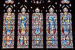 Stained glass windows of Grace Cathedral in San Francisco, California