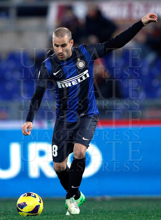 Calcio, semifinale di andata di Coppa Italia: Roma vs Inter. Roma, stadio Olimpico, 23 gennaio 2013..FC Inter forward Rodrigo Palacio, of Argentina, in action during the Italy Cup football semifinal first half match between AS Roma and FC Inter at Rome's Olympic stadium, 23 January 2013..UPDATE IMAGES PRESS/Isabella Bonotto