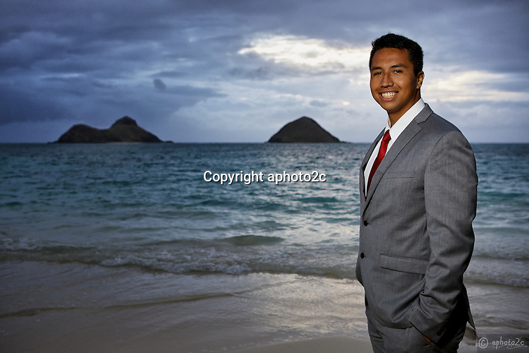 Pre-mission photos of Sam Walters Jr. at Lanikai Beach sunrise.