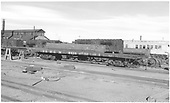 3/4 view of newly rebuilt D&amp;RGW flatcar #6610 at Alamosa.<br /> D&amp;RGW  Alamosa, CO  Taken by Richardson, Robert W. - 10/1955