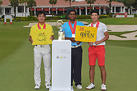 New champion, Takumi KANAYA (JPN), with co-runners up Rayhan THOMAS (IND), and Keita NAKAJIMA (JPN) following  Rd 4 of the Asia-Pacific Amateur Championship, Sentosa Golf Club, Singapore. 10/7/2018.<br /> Picture: Golffile | Ken Murray<br /> <br /> All photo usage must carry mandatory copyright credit (&copy; Golffile | Ken Murray)