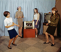 Saint John Villa Academy, NY. Teenagers dancing to an album on the turntable