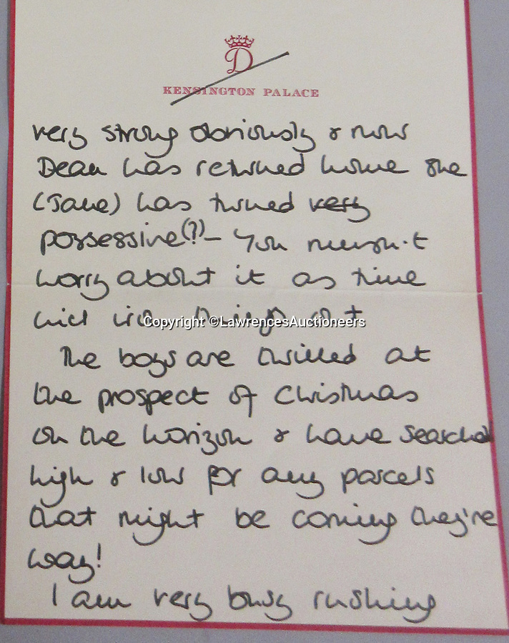 BNPS.co.uk (01202 558833)<br /> Pic: LawrencesAuctioneers/BNPS<br /> <br /> PICTURED: Diana's letter to Ivy Woodward - She describes how the young princes had 'searched high and low' around Kensington Palace for their presents.<br /> <br /> A heartwarming letter by Princess Diana revealing a young William and Harry's excitement for Christmas has come to light.<br /> <br /> The then Princess of Wales described how the two boys were 'thrilled that Christmas was on the horizon'.<br /> <br /> In the same letter Diana also displayed the compassion and empathy that she was famous for towards recipient Ivy Woodward.