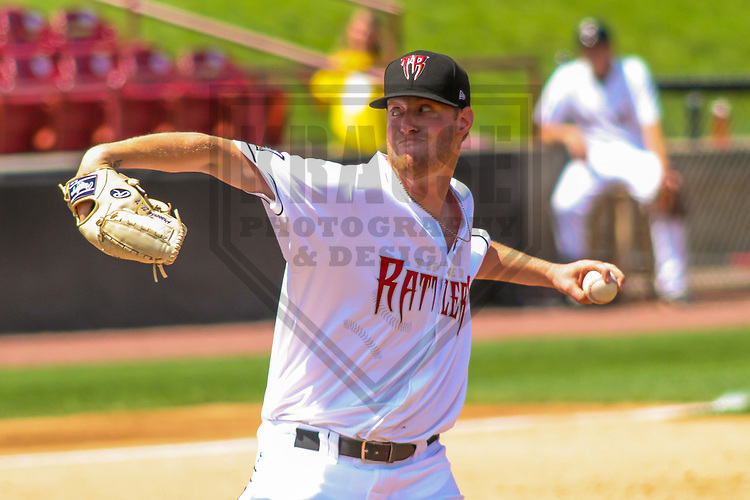 Wisconsin Timber Rattlers pitcher Cameron Roegner (35) during a Midwest League game against the Burlington Bees on July 10, 2017 at Fox Cities Stadium in Appleton, Wisconsin.  Burlington defeated Wisconsin 6-3. (Brad Krause/Krause Sports Photography)