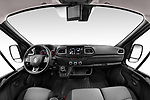 Stock photo of straight dashboard view of a 2020 Renault Master Confort 4 Door Cargo Van