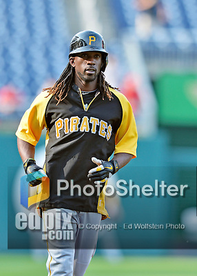 16 May 2012: Pittsburgh Pirates outfielder Andrew McCutchen warms up prior to a game against the Washington Nationals at Nationals Park in Washington, DC. The Nationals defeated the Pirates 7-4 in the first game of their 2-game series. Mandatory Credit: Ed Wolfstein Photo