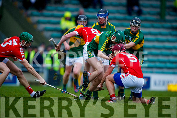 Jordan Conway Kerry  in action against Colm Barry Cork in the Co-op Superstores Munster Senior Hurling League on Sunday 14th January in Austin Stack Park, Tralee.