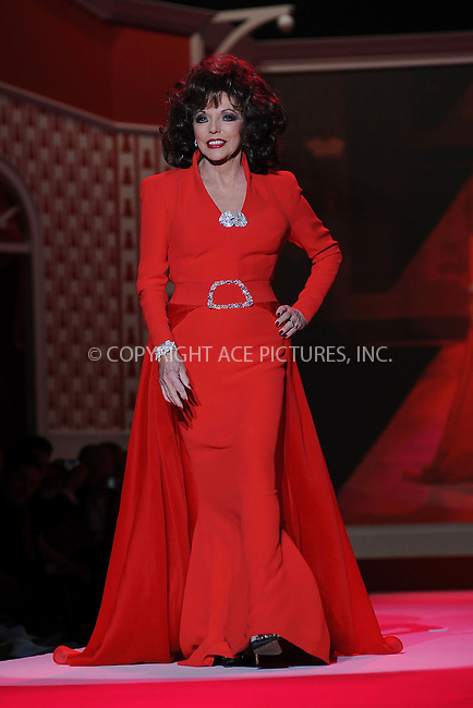 WWW.ACEPIXS.COM . . . . . ....February 11 2010, New York City....Joan Collins walks the runway  for the HeartTruth Red Dress during the fall 2010 Mercedes-Benz Fashion Week in New York on February 11, 2010....Please byline: KRISTIN CALLAHAN - ACEPIXS.COM.. . . . . . ..Ace Pictures, Inc:  ..tel: (212) 243 8787 or (646) 769 0430..e-mail: info@acepixs.com..web: http://www.acepixs.com