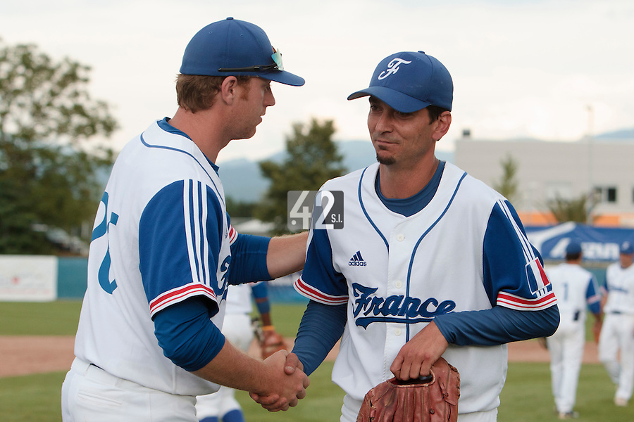 25 july 2010: Starting pitcher Samuel Meurant of France is congratulated by Nicolas Dubaut as he pitches against Czech Republic during France 6-1 victory over Czech Republic, in day 3 of the 2010 European Championship Seniors, in Neuenburg, Germany.