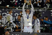 Cardiff City Stadium, Cardiff, South Wales - Tuesday 12th Aug 2014 - UEFA Super Cup Final - Real Madrid v Sevilla - <br /> <br /> Real Madrid&rsquo;s Gareth Bale celebrate's with the UEFA Super Cup. <br /> <br /> <br /> <br /> <br /> Photo by Jeff Thomas/Jeff Thomas Photography