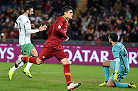 Diego Perotti of AS Roma (R) celebrates after scoring a goal  during the Serie A 2018/2019 football match between AS Roma and Sassuolo at stadio Olimpico, Roma, December, 26, 2018 <br />  Foto Andrea Staccioli / Insidefoto