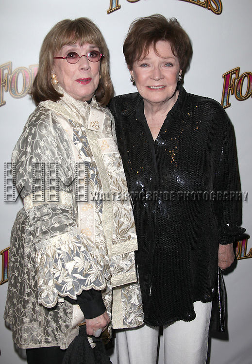 Phyllis Newman & Polly Bergen.attending the Broadway Opening Night Performance of 'Follies' at the Marquis Theatre in New York City,