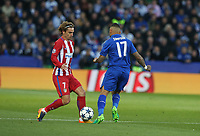 Atletico Madrid's Antoine Griezmann dispossess Leicester City's Danny Simpson<br /> <br /> Photographer Stephen White/CameraSport<br /> <br /> UEFA Champions League Quarter Final Second Leg - Leicester City v Atletico Madrid - Tuesday 18th April 2017 - King Power Stadium - Leicester <br />  <br /> World Copyright &copy; 2017 CameraSport. All rights reserved. 43 Linden Ave. Countesthorpe. Leicester. England. LE8 5PG - Tel: +44 (0) 116 277 4147 - admin@camerasport.com - www.camerasport.com