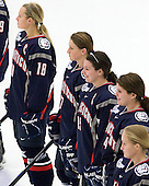 Rebecca Hewett (UConn - 18), Caitlin Hewes (UConn - 17), Sami Evelyn (UConn - 15), Carli Pridmore (UConn - 14) - The Boston University Terriers defeated the visiting University of Connecticut Huskies 4-2 on Saturday, November 19, 2011, at Walter Brown Arena in Boston, Massachusetts.