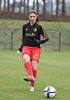 20190206 - TUBIZE , BELGIUM : Belgian Manon Lamotte pictured during the friendly female soccer match between Women under 17 teams of  Belgium and The Netherlands , in Tubize , Belgium . Wednesday 6th February 2019 . PHOTO SPORTPIX.BE DIRK VUYLSTEKE