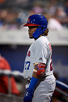Buffalo Bisons third baseman Vladimir Guerrero Jr. (27) on deck during a game against the Syracuse Chiefs on September 2, 2018 at NBT Bank Stadium in Syracuse, New York.  Syracuse defeated Buffalo 4-3.  (Mike Janes/Four Seam Images)