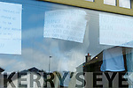 Residents of the Skellig Star post signs on the front windows of the Centre on Tuesday as they start their 'Indefinite Hunger Strike'.