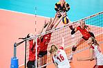 16.08.2019, …VB Arena, Bremen<br />Volleyball, LŠnderspiel / Laenderspiel, Deutschland vs. Polen<br /><br />Block / Doppelblock Denise Hanke (#3 GER), Melanie Schšlzel / Schoelzel (#14 GER) - Natalia Medrzyk (#16 POL)<br /><br />  Foto © nordphoto / Kurth