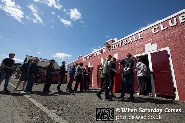 East Stirlingshire 0 Edinburgh City 1, 14/05/2016. Ochilview, Scottish League Pyramid Play Off. Visiting fans queueing to gain entry to the ground before East Stirlingshire took on Edinburgh City in the second leg of the Scottish League pyramid play-off at Ochilview Park, Stenhousemuir. The play-offs were introduced in 2015 with the winners of the Highland and Lowland Leagues playing-off for the chance to play the club which finished bottom of Scottish League 2. Edinburgh City won the match 1-0 giving them a 2-1 aggregate victory making them the first club in Scottish League history to be promoted into the league. Photo by Colin McPherson.