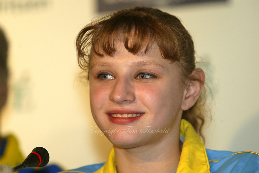 May 01, 2004; Amsterdam, Netherlands; ALINA KOZICH of Ukraine wins<br /> All-Around Gold medal at 2004 European Championships Artistic Gymnastics.<br /> Mandatory Credit: Tom Theobald/ ZUMA Press.<br /> (&copy;) Copyright 2004 Tom Theobald