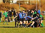 Westport's scrum half Tom Ellard kicks ahead during the junior league match against Ballina ...Pic Conor McKeown