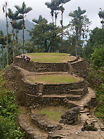 "Ciudad Perdida - Colombia, Tourists and military officials enjoy the ruins of the ""Lost City"" in the in Sierra Nevada."