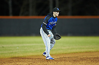 Lake Norman Wildcats shortstop Anthony Palma (2) on defense against the Davie War Eagles at Davie County High School on March 7, 2018 in Mocksville, North Carolina.  The Wildcats defeated the War Eagles 12-0.  (Brian Westerholt/Four Seam Images)