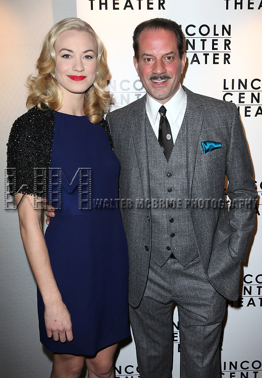 Yvonne Strahovski & Danny Mastrogiorgio attending the Broadway Opening Night After Party for The Lincoln Center Theater Production of 'Golden Boy' at the Millennium Broadway in New York City on December 6, 2012