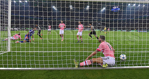 03.11.2015. Moenchengladbach, Germany, UEFA Champions League football group stages. Borussia Moenchangladbach versus Juventus.  Players and Goalkeeper Gianluigi Buffon Juventus  disapointed to see the first goal go in