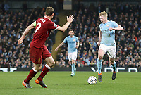 Manchester City's Kevin De Bruyne<br /> <br /> Photographer Rich Linley/CameraSport<br /> <br /> UEFA Champions League Quarter-Final Second Leg - Manchester City v Liverpool - Tuesday 10th April 2018 - The Etihad - Manchester<br />  <br /> World Copyright &copy; 2017 CameraSport. All rights reserved. 43 Linden Ave. Countesthorpe. Leicester. England. LE8 5PG - Tel: +44 (0) 116 277 4147 - admin@camerasport.com - www.camerasport.com