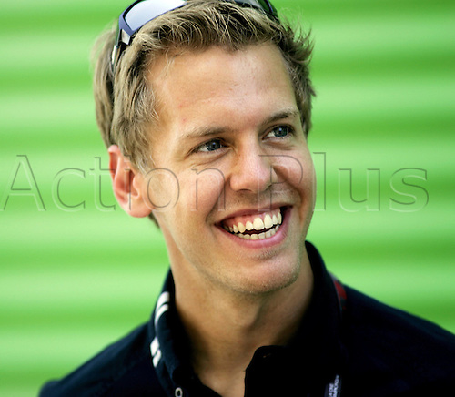 German Formula One driver Sebastian Vettel of Red Bull Racing smiles at the Valencia Street Circuit in Valencia, Spain, 20 August 2009. The Grand Prix of Europe will take place on Sunday, 23 August 2009. Photo: Felix Heyder/ActionPlus. UK Licenses Only