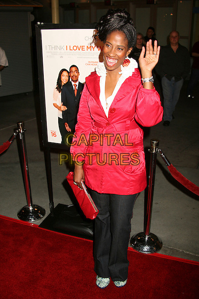 "SHONDRELLA AVERY.""I Think I Love My Wife"" Los Angeles Premiere at ArcLight Cinemas, Hollywood, California, USA..March 7th, 2007.full length black trousers red jacket clutch purse bag mac hand waving.CAP/ADM/BP.©Byron Purvis/AdMedia/Capital Pictures"