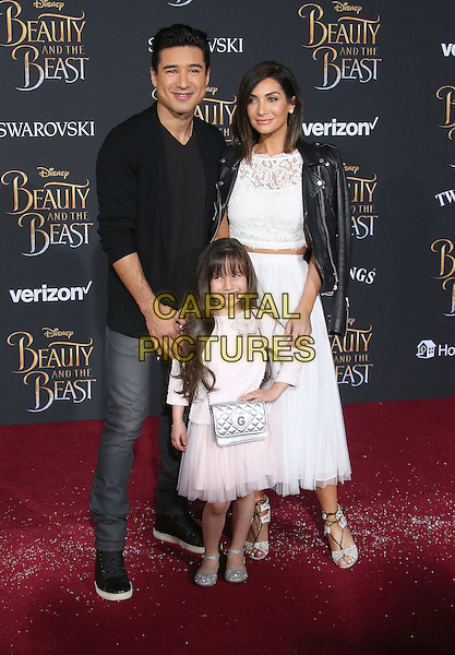 02 March 2017 - Hollywood, California - Mario Lopez, Courtney Laine Mazza, Gia Lopez. Disney's &quot;Beauty and the Beast' World Premiere held at El Capitan Theatre.   <br /> CAP/ADM/FS<br /> &copy;FS/ADM/Capital Pictures