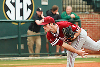 NASHVILLE, TENNESSEE-Feb. 27, 2011:  Starter Jordan Pries of Stanford delivers a pitch during the game at Vanderbilt.  Stanford defeated Vanderbilt 5-2.