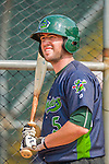 8 July 2015: Vermont Lake Monsters infielder Mikey White awaits his turn in the batting cage prior to a game against the Mahoning Valley Scrappers at Centennial Field in Burlington, Vermont. The Lake Monsters defeated the Scrappers 9-4 to open the home game series of NY Penn League action. Mandatory Credit: Ed Wolfstein Photo *** RAW Image File Available ****
