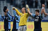 Fussball 2. Bundesliga:  Saison   2012/2013,    4. Spieltag  TSV 1860 Muenchen - MSV Duisburg    31.08.2012 Jubel nach dem Sieg, Torwart Gabor Kiraly und Moritz Stoppelkamp (v.li., 1860 Muenchen)