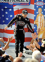Sept. 6, 2010; Clermont, IN, USA; NHRA top fuel dragster driver Larry Dixon during driver introductions prior to the U.S. Nationals at O'Reilly Raceway Park at Indianapolis. Mandatory Credit: Mark J. Rebilas-