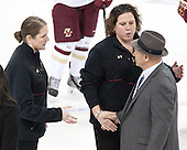 Katie King Crowley (BC - Head Coach), Courtney Kennedy (BC - Assistant Coach), Jim Plumer (UVM - Head Coach) - The Boston College Eagles defeated the visiting University of Vermont Catamounts 2-0 on Saturday, January 18, 2014, at Kelley Rink in Conte Forum in Chestnut Hill, Massachusetts.