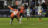 Alan Sheehan of Luton Town scores the equalizer during the Sky Bet League 2 match between Luton Town and Yeovil Town at Kenilworth Road, Luton, England on 2 February 2016. Photo by Liam Smith.