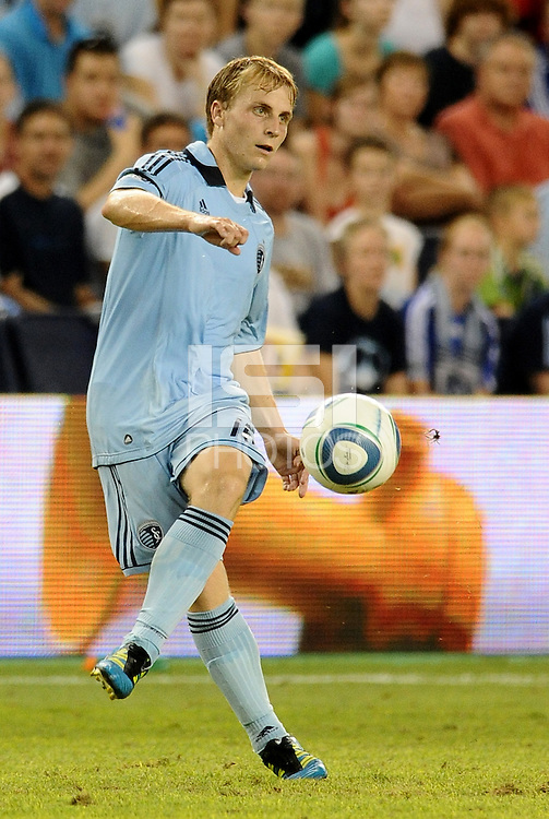 Seth Sinovic (16) defender Sporting KC in action..... Sporting Kansas City were defeated 1-2 by Seattle Sounders at LIVESTRONG Sporting Park, Kansas City, Kansas.