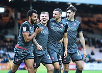 Lincoln City's James Wilson, second in from right, celebrates scoring his side's sixth goal with team-mates, from left, Matt Green, Harry Anderson and Ellis Chapman<br /> <br /> Photographer Andrew Vaughan/CameraSport<br /> <br /> The EFL Sky Bet League Two - Port Vale v Lincoln City - Saturday 13th October 2018 - Vale Park - Burslem<br /> <br /> World Copyright © 2018 CameraSport. All rights reserved. 43 Linden Ave. Countesthorpe. Leicester. England. LE8 5PG - Tel: +44 (0) 116 277 4147 - admin@camerasport.com - www.camerasport.com