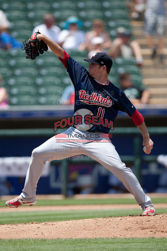 Memphis Redbirds pitcher Nick Additon #11 wind up during the Pacific Coast League baseball game against the Round Rock Express on May 6, 2012 at The Dell Diamond in Round Rock, Texas. The Express defeated the Redbirds 5-1. (Andrew Woolley/Four Seam Images)
