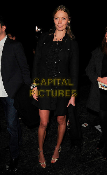 JODIE KIDD.The Vivienne Westwood Red Label LFW catwalk show, The Old Sorting Post Office, New Oxford Street, London, England..February 14th, 2008.fashion week full length black dress coat.CAP/CAN.©Can Nguyen/Capital Pictures.