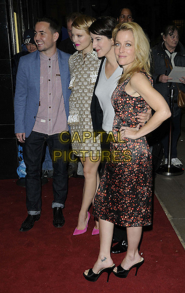 Martin Compston, Lea Seydoux, director Ursula Meier & Gillian Anderson.attended the 'Sister' official screening, London Film Festival Day 3, Curzon Mayfair cinema, Curzon St., London, England, UK, October 12th 2012..full length  pink shoes grey gray print dress beige collar white black red orange print hand on hip blue jacket .CAP/CAN.©Can Nguyen/Capital Pictures.